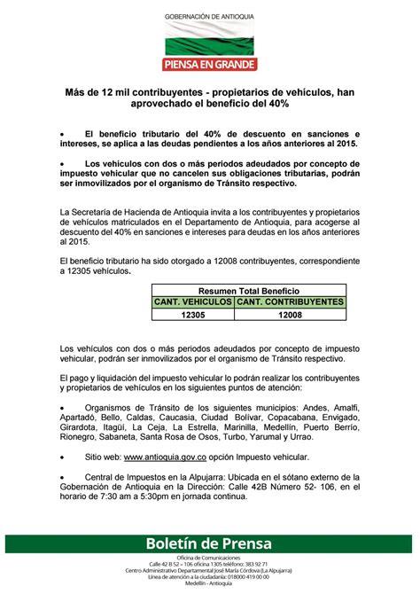 pagos de impuestos vehicular antioquia pago impuesto vehicular by gobernaci 243 n de antioquia issuu