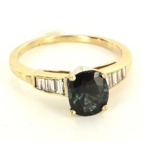 vintage 14 karat yellow gold sapphire engagement