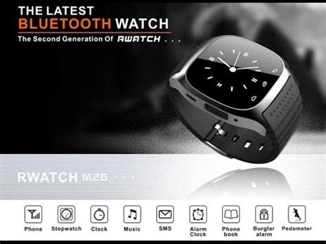 Jam Smart M26 jual rwatch smartwatch m26 bluetooth for ios android