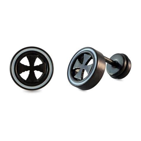 Cross Single Earring buy black crutch cross single stud earring for