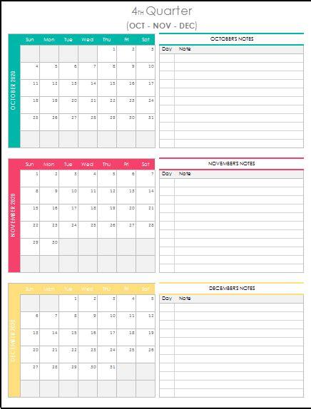 quarterly calendar  excel template