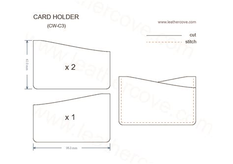leather card holder wallet template slim card holder pattern pdf leathercove