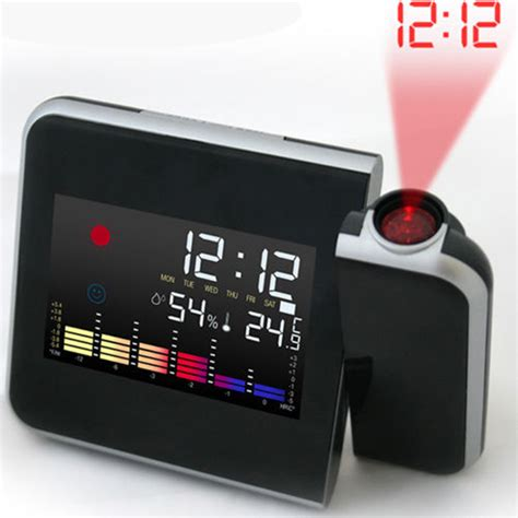Led Light Backlight Alarm Clock With Temperature 510 battery powered 180 degrees rotating projection alarm clock with snooze led backlight date