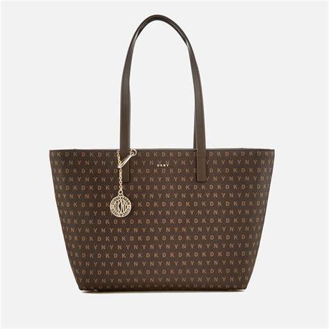 lyst dkny womens coated logo medium tote bag  brown
