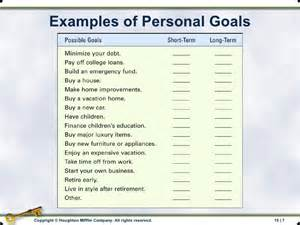 personal goals and objectives template chapter 15 personal financial planning