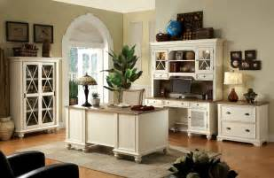 Furniture Desks Home Office Rustic Style Home Office Design With White Painted Furniture Interior Color Decor Combined With