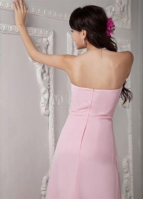 Pink Floor Ls by Pink Floor Length A Line Rhinestone Bridesmaid Dress