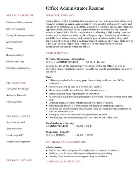 Administrative Officer Resume Pdf by 29 Administration Resume Sles Pdf Doc Free