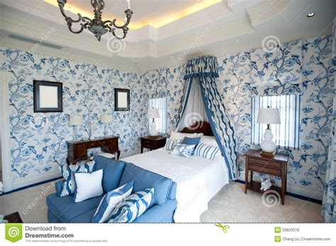 bedroom flower wallpaper bedroom with blue flower wallpaper royalty free stock