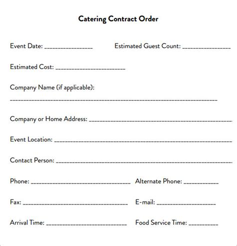 catering email template catering contract 7 free pdf