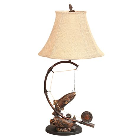 Antler Sconces Rustic Table Lamps Fly Rod Trout Table Lamp Black Forest