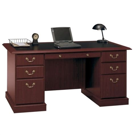 Wood Home Office Desks Bush Furniture Saratoga Home Office Wood Manager S Cherry Executive Desk Ebay