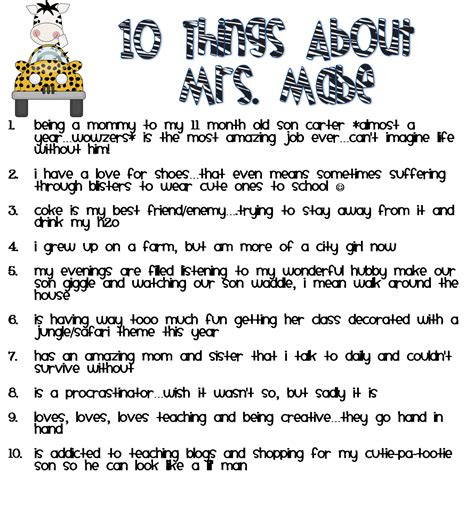Another 7 Things About Me by Fabulous Firsties 10 Things About Me