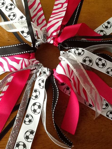 ribbon for hair that says gymnastics hot pink white zebra soccer hair bow choose team colors