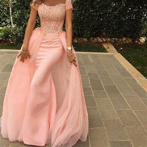 Unique Long Mermaid Prom Dresses With Train Short Sleeve