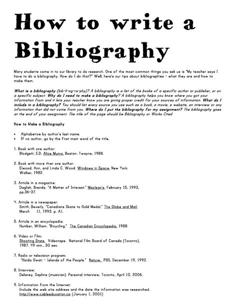 how to write bibliography for research paper how to write a bibliography school library ideas