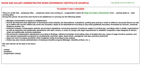 Automotive Warranty Administrator Cover Letter by Automotive Warranty Administrator Work Experience Certificates