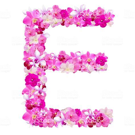fiori con la lettera e lettera e da fiori di orchidea isolato su bianco