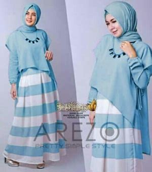 Baju Muslim Warna Biru baju muslim wanita setelan gamis belang modis modern