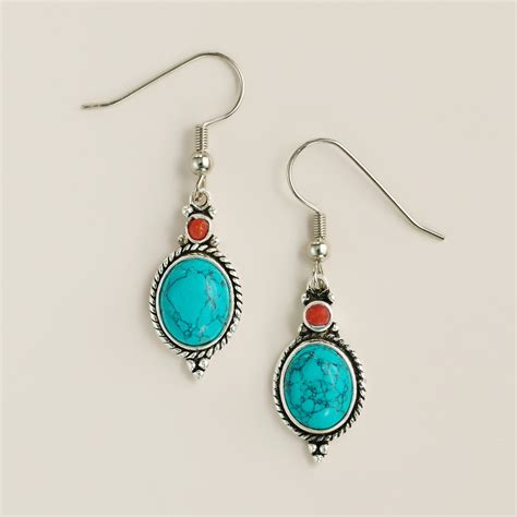 turquoise and coral tribal drop earrings world market