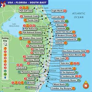 golf courses florida map florida south east golf map with top golf courses and best