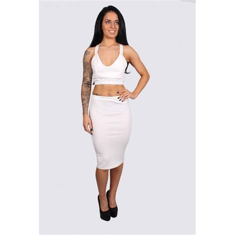 white plunge crop and midi skirt set from