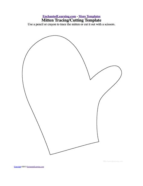 mitten tracing cutting template enchantedlearning clothes drawing and coloring worksheets