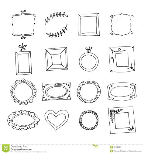 free doodle border vector set of doodle frames stock vector image