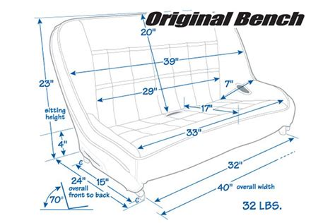 dimensions of a bench seat mastercraft original shorty bench seats at autoanything