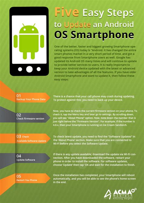 android os update five easy steps to update an android os smartphone infographics acmatech official