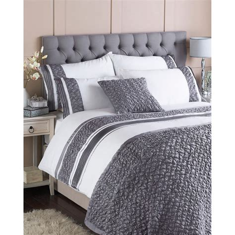 Macy Bedding by Paoletti Macy Bedding Set In White And Grey Free Delivery