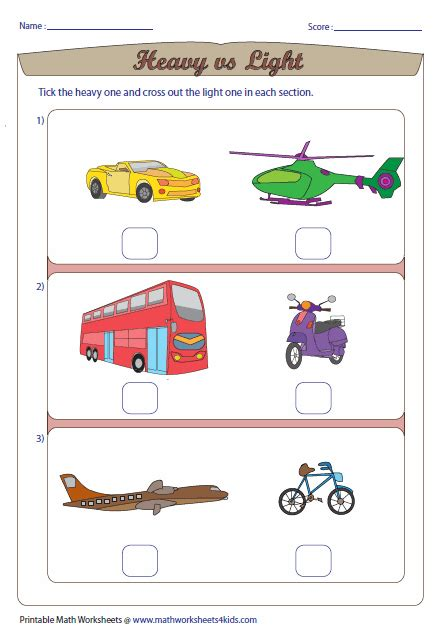 heavy and light worksheets for grade 1 heavy and light worksheets