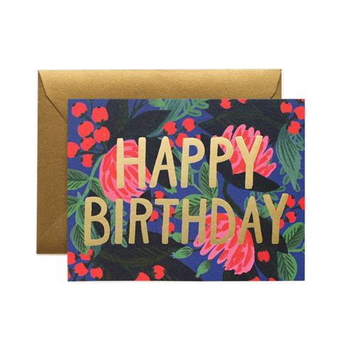 Birthday Card With Floral Foil Birthday Greeting Card By Rifle Paper Co