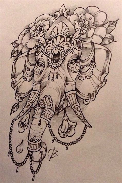 hindu elephant tattoo designs elephant pencil and in color