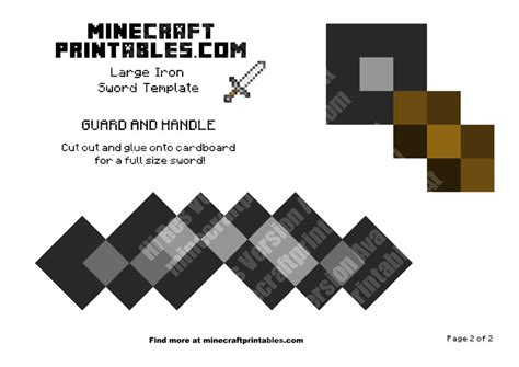 Minecraft Papercraft Sword - iron sword printable minecraft iron sword papercraft