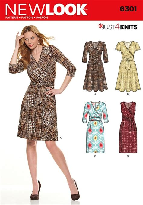 sewing pattern knit dress new look 6301 misses mock wrap knit dress sewing pattern