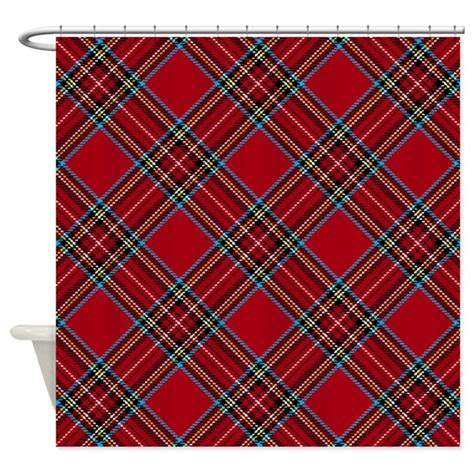 red plaid shower curtain red plaid pattern shower curtain by artandornament