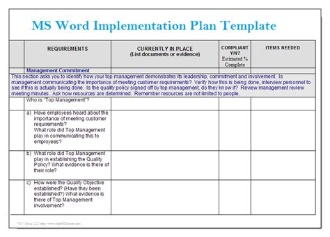 template implementation ms word implementation plan template microsoft word