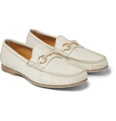 white leather loafers lyst gucci horsebit burnished leather loafers in white
