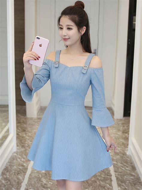 Flare Dress Korea wholesale korean style flare sleeve denim dress cmj032958lb wholesale7 net