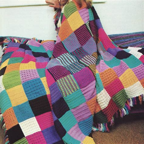 Knitted Patchwork Quilt Patterns - instant pdf knitting pattern for squares patchwork