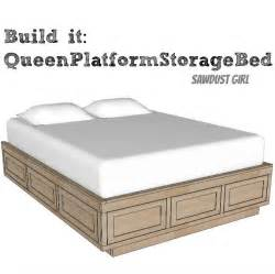 Platform Bed With Storage Plans Size Platform Storage Bed Plans Sawdust 174