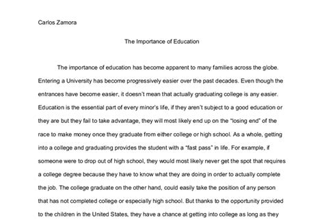 Essay On Importance Of Education In by The Importance Of Education Gcse Marked By Teachers
