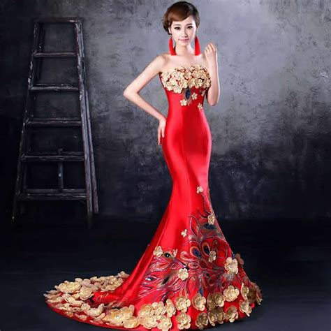 Salesale Gaun Pestasale Dress 2 sale 2016 fashion embroidery mermaid evening gowns strapless qipao cheongsam