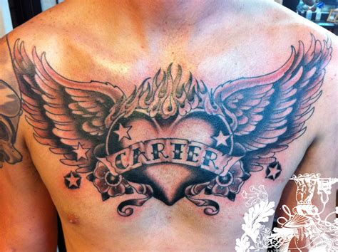 heart tattoos on chest for men chest images designs