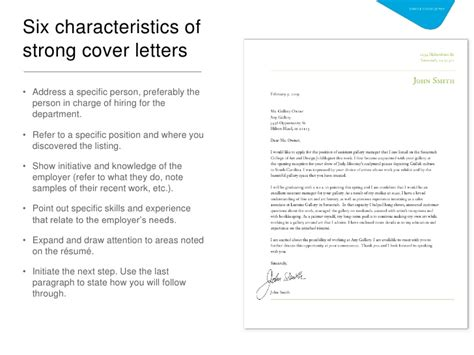 Characteristics Of A Cover Letter intro to cover letter and resume development