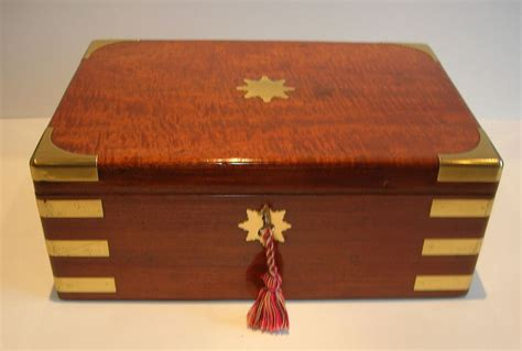desk in a box large antique brass bound mahogany jewelry desk