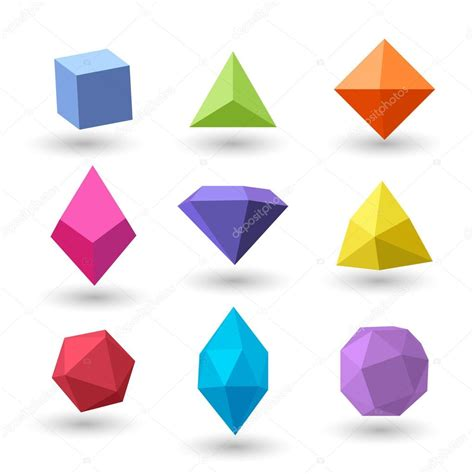 imagenes geometricas tridimensionales conjunto de figuras geom 233 tricas poligonales vector de