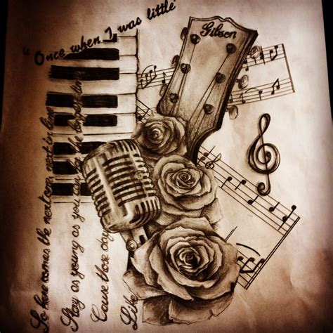 tattoos music design gibson guitar microphone tattoos