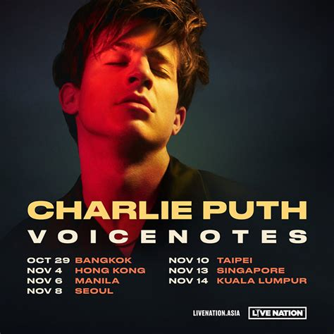 charlie puth concert asia charlie puth is bringing his voicenotes tour to singapore